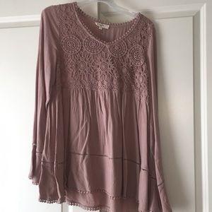 Blush lace tunic